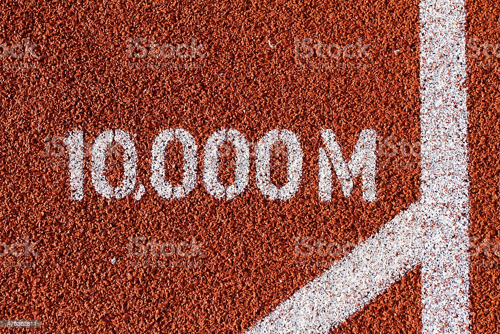 Campo e pista de corrida de 10.000 m Mark - foto de acervo