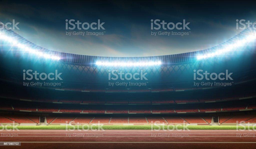 track and field stadium stock photo