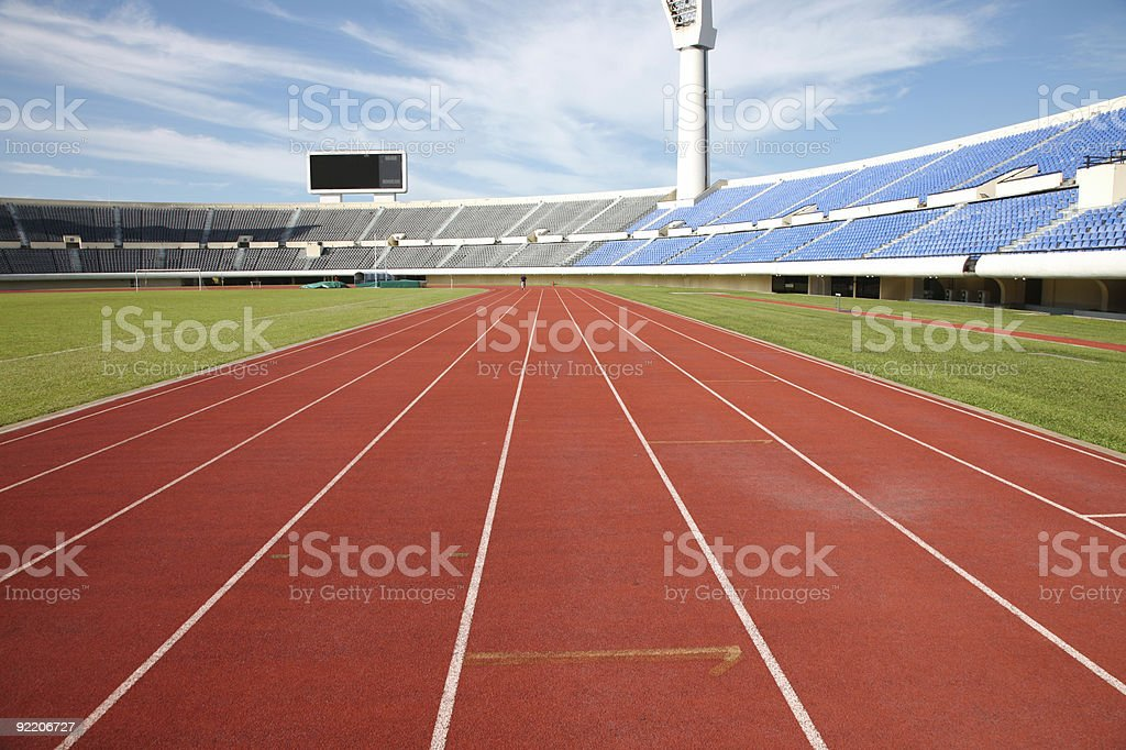 Track and field training lanes stock photo