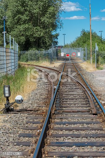 Train tracks in an industrial area