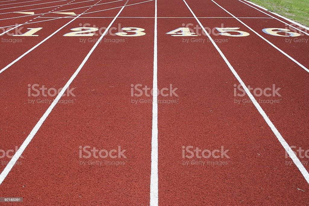 Track & Field Numbered Running Lanes royalty-free stock photo