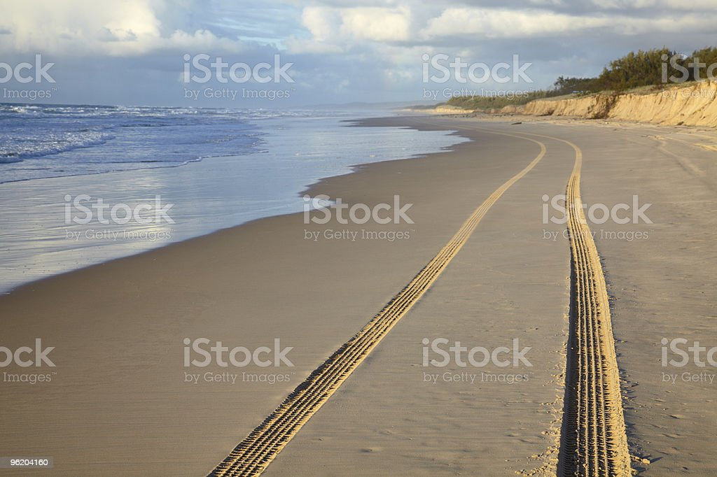 Track from car at ocean beach stock photo