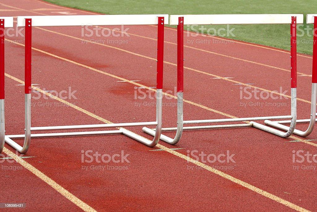 Track hurdle stock photo