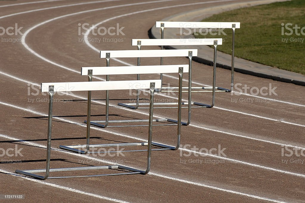 Track hurdle stock photo