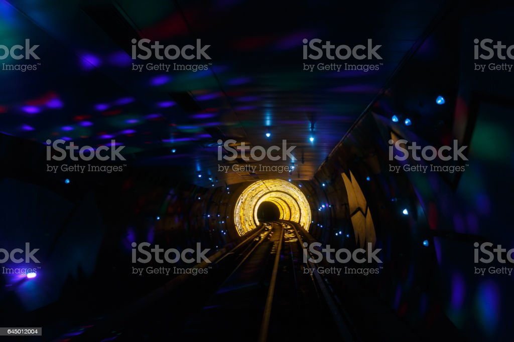 track in a tunnel,  moving light stock photo