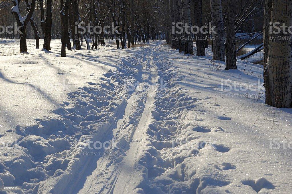 track left by ski stock photo