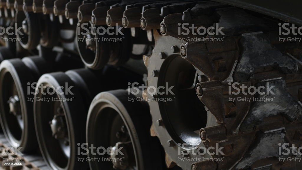 track of armored tank stock photo