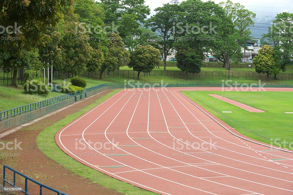 Track of the sports stadium stock photo