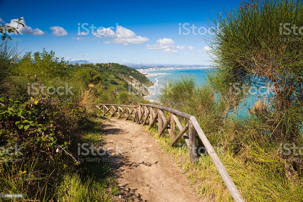 Track over the bay of Rimini stock photo