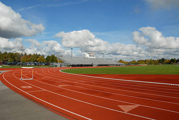 Track with hurdle stock photo