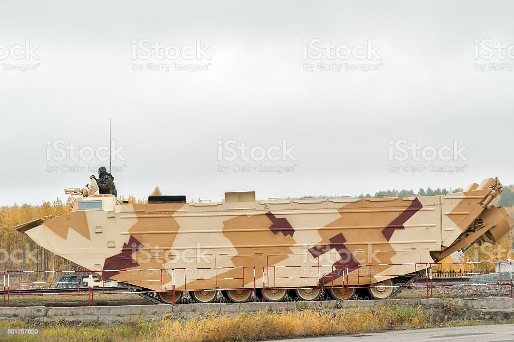Tracked amphibious carrier PTS-4. Russia stock photo