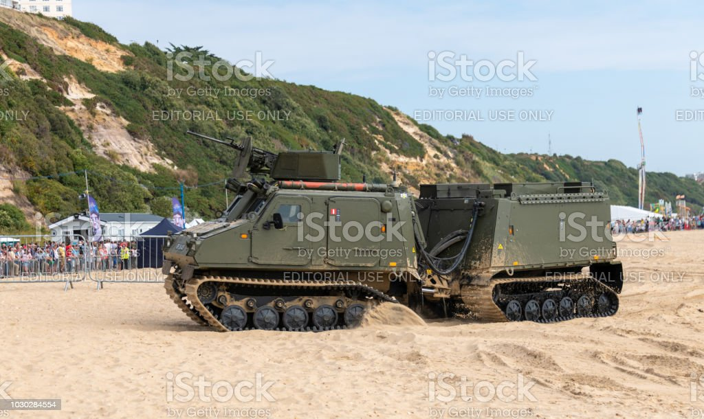 Tracked military vehicle with trailer at the Bournemouth Air Festival stock photo