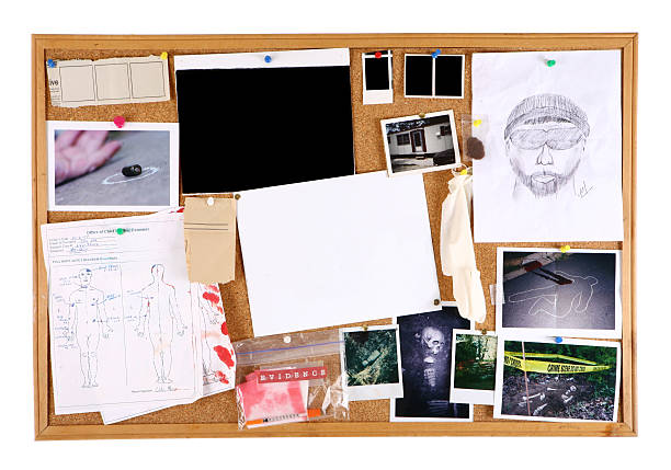 tracking a serial killer - bulletin board stock pictures, royalty-free photos & images