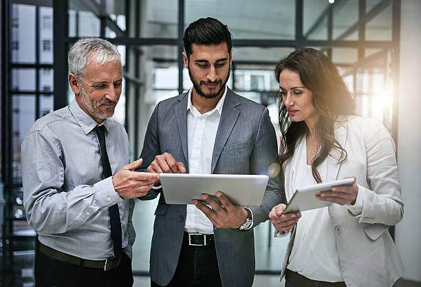 Tracking business concerns as a team stock photo