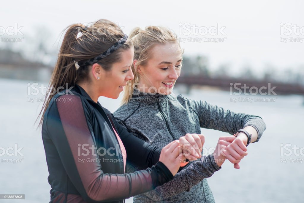 Tracking Fitness Together stock photo