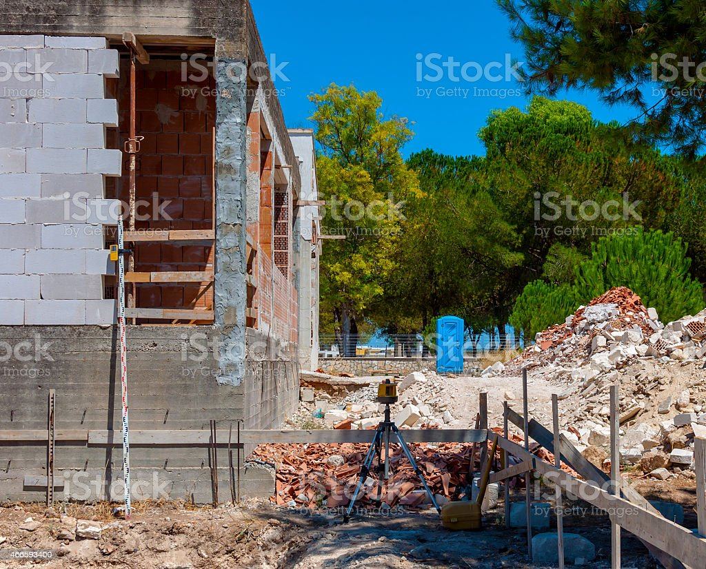 Tracking foundations on a construction site stock photo