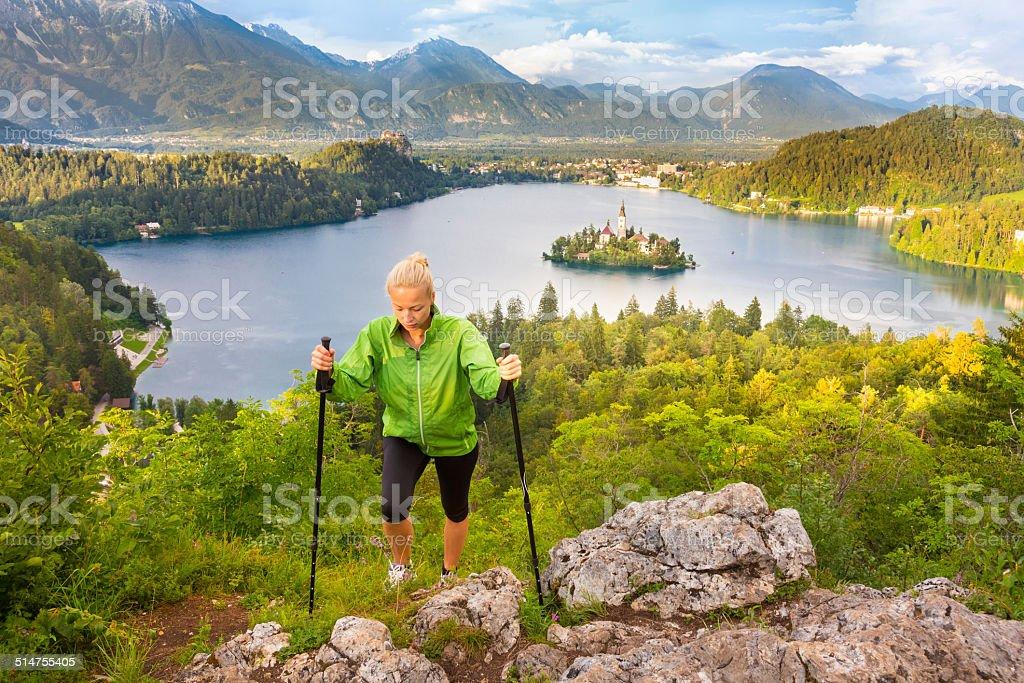 Tracking Runde Bled See in Julianische Alpen, Slowenien. – Foto