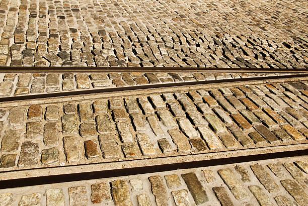 Tracks and Cobblestones stock photo