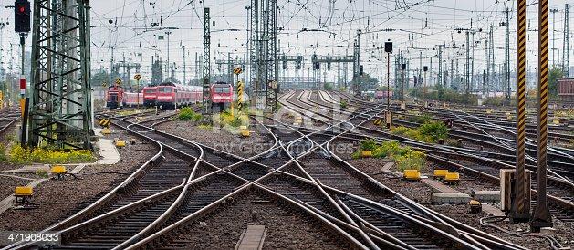 Tracks and trains at the rail yard - panoramic view