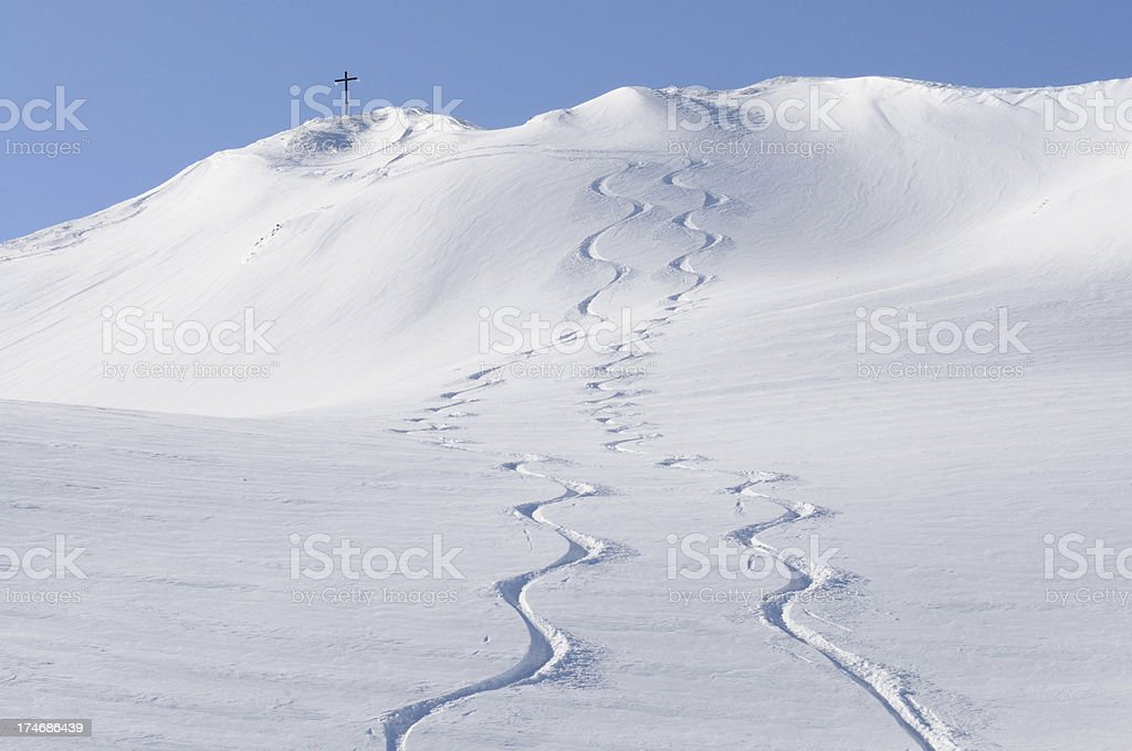 Tracks from Summit stock photo