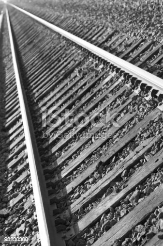 Tracks In Bw Stock Photo & More Pictures of Black And White