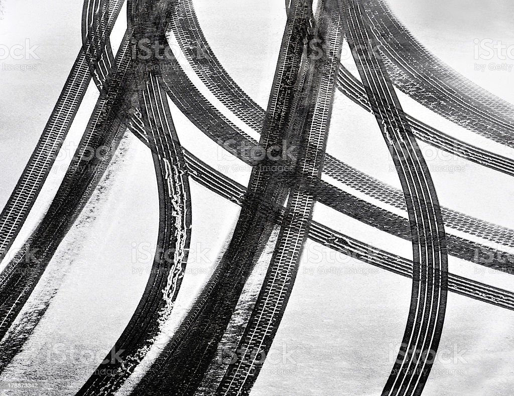 Tracks of car tires stock photo