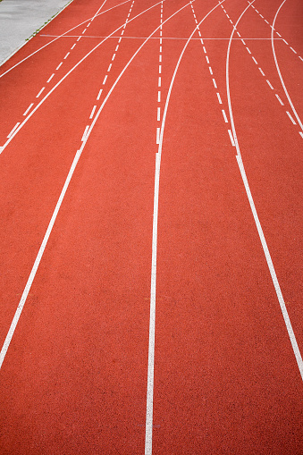 Athletics track on a stadium. Start or end of the turn.