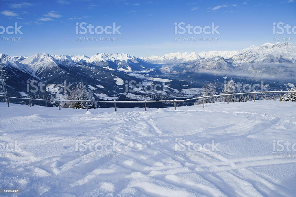 tracks on piste royalty-free stock photo