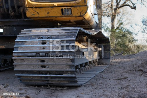 Construction excavator track detail