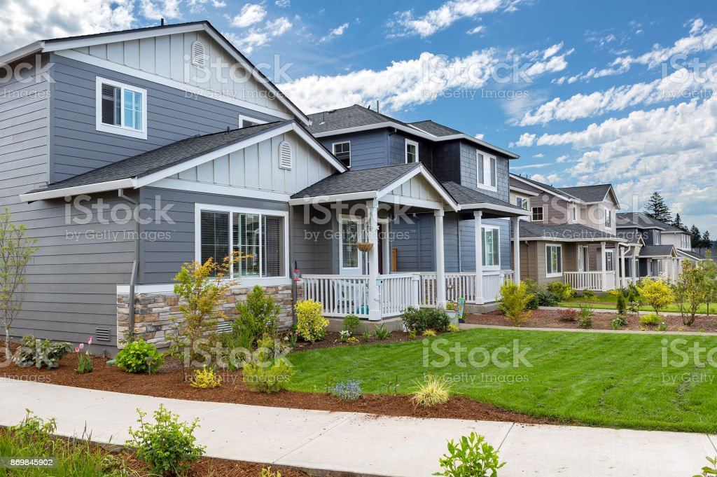 Tract homes in new subdivision in North American suburb USA stock photo