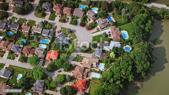 Aerial view of tract housing in a neighbourhood of Burlington, Ontario, Canada.