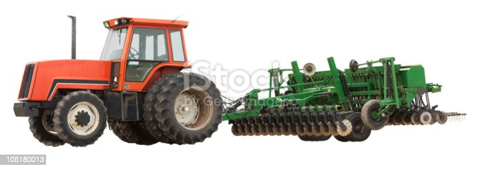 Tractor and plow isolated on a white background