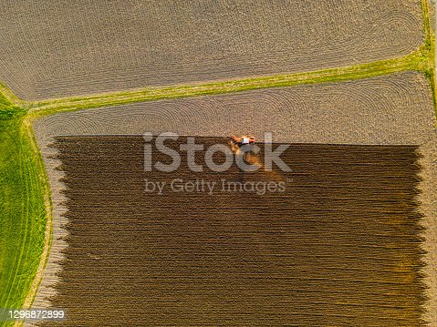Tractor doing agricultural work ,  air photography