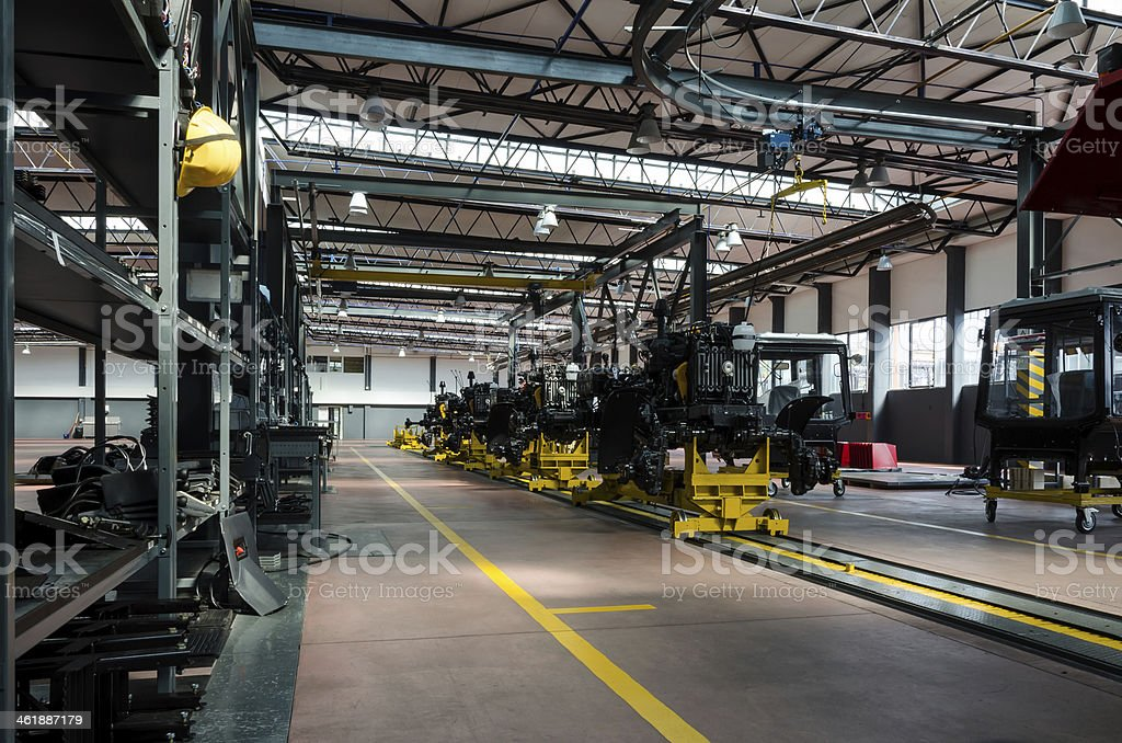 Tractor assembly line stock photo