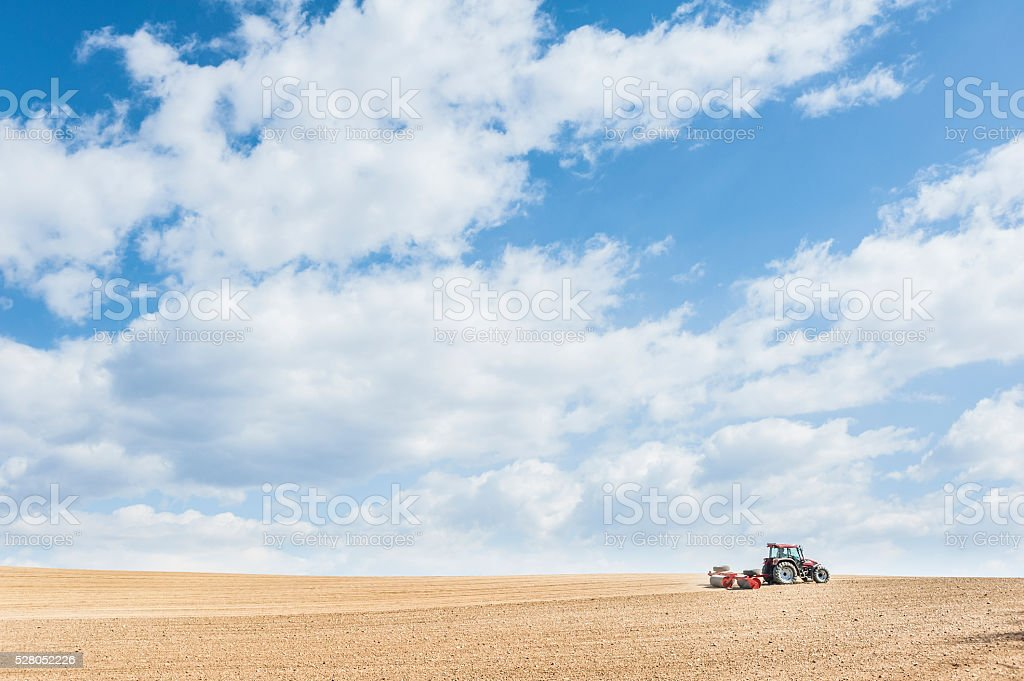 Tractor compresses the soil after planting with rollers. stock photo
