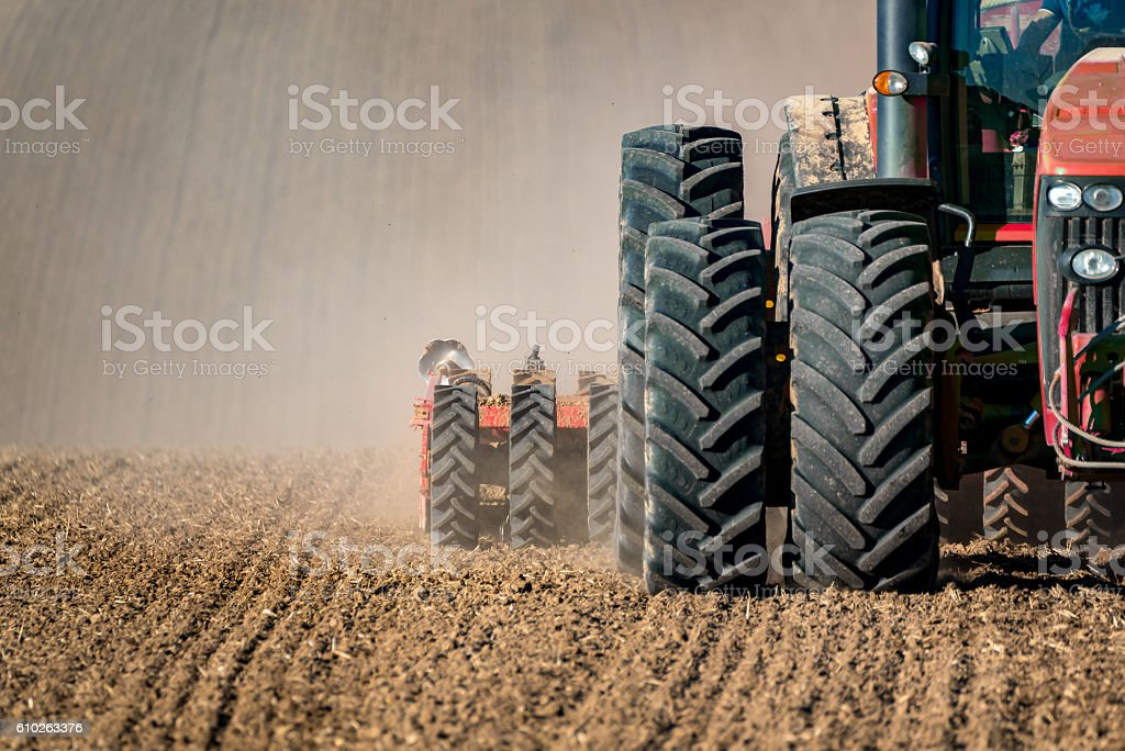 Tractor field works stock photo
