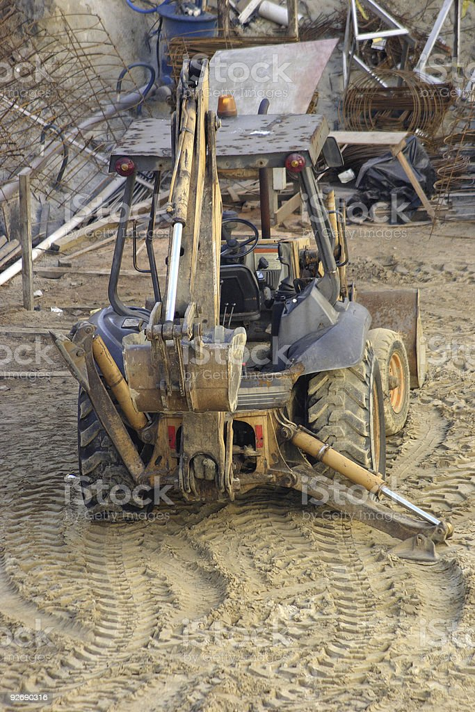 Tractor in a construction frame royalty-free stock photo