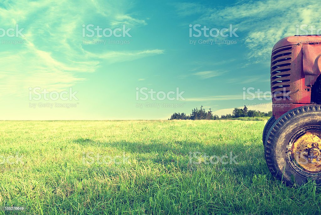 Tractor in Field royalty-free stock photo