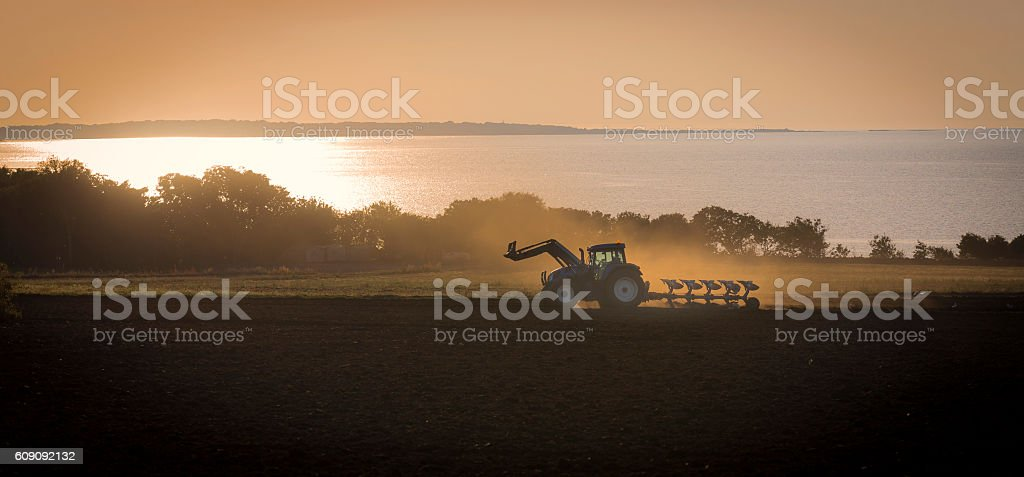 Tractor in sunset light stock photo