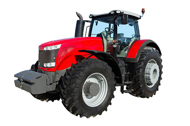 Tractor isolated on white background stock photo