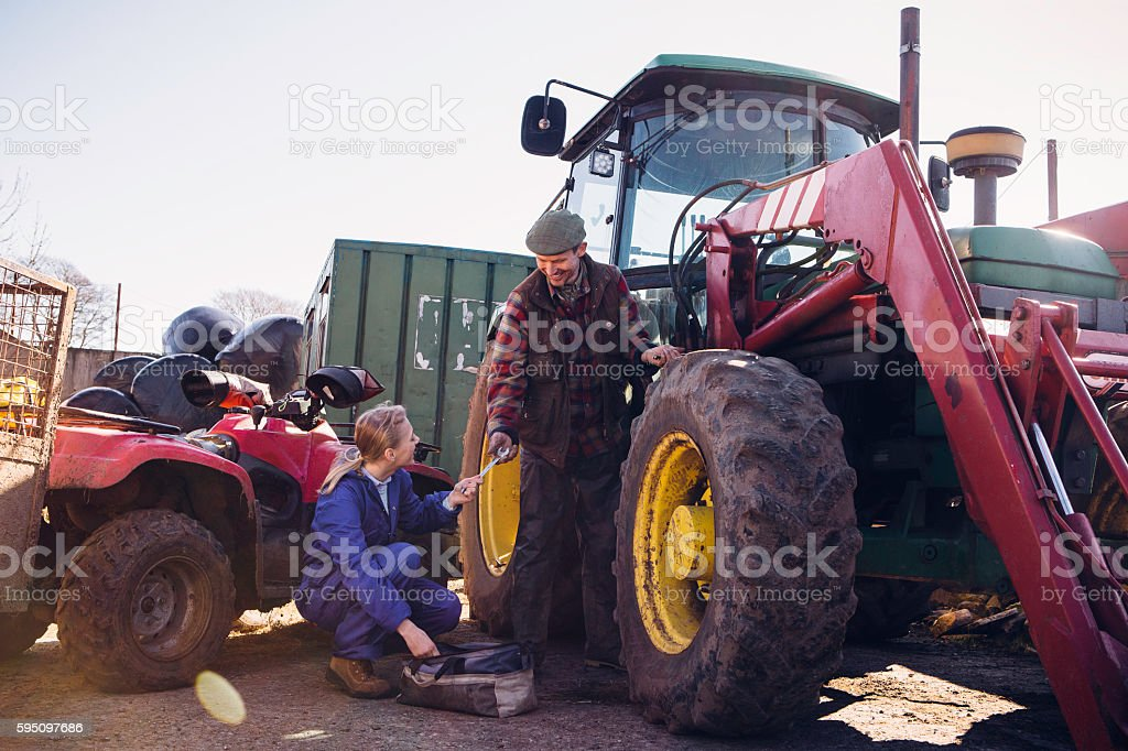 Tractor Maintenance stock photo