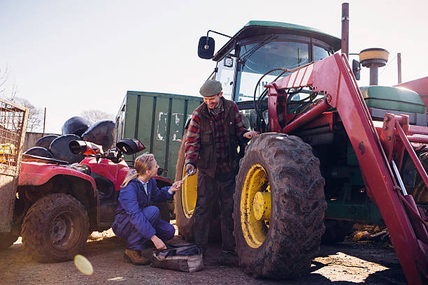 Tractor Maintenance stock photo