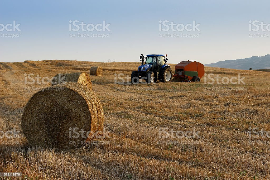 Tractor makes Bale on Wheat Field during Harvest stock photo