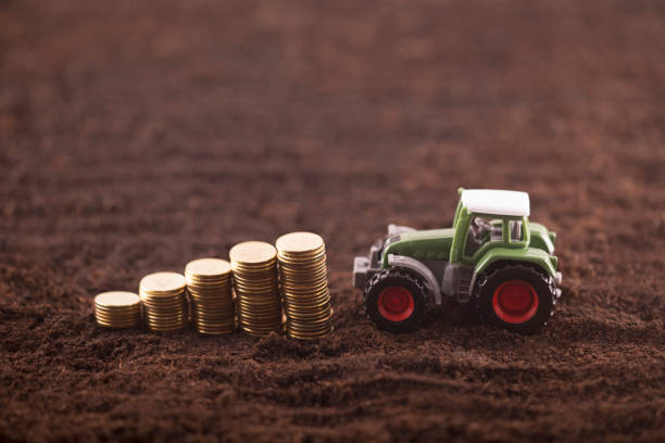 Tractor miniature with coins on fertile soil land stock photo