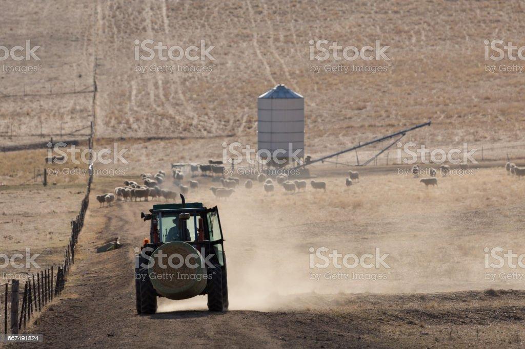 A Tractor on a dry Australian Farm stock photo