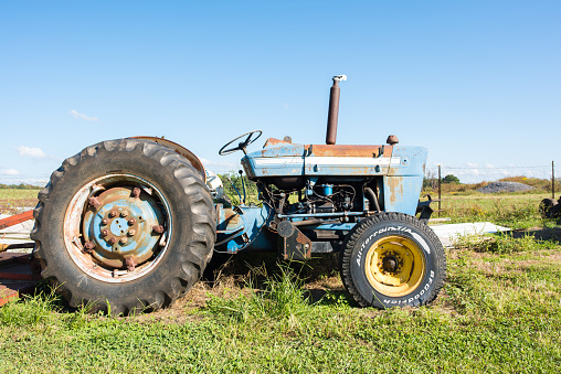 Tractor On A Farm Stock Photo - Download Image Now