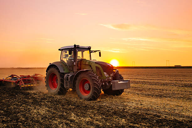 Tractor on the field Tractor on the barley field by sunset. agricultural equipment stock pictures, royalty-free photos & images