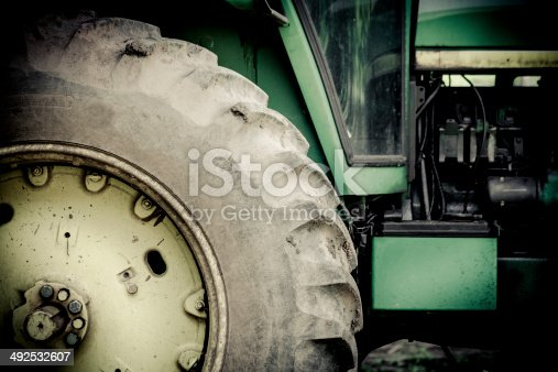 Close up of tractor with vintage tint