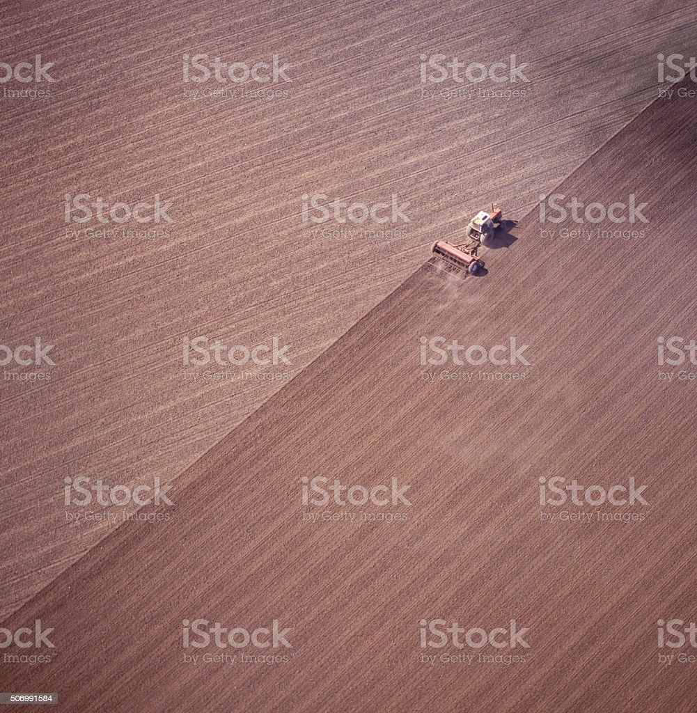 tractor ploughing. stock photo