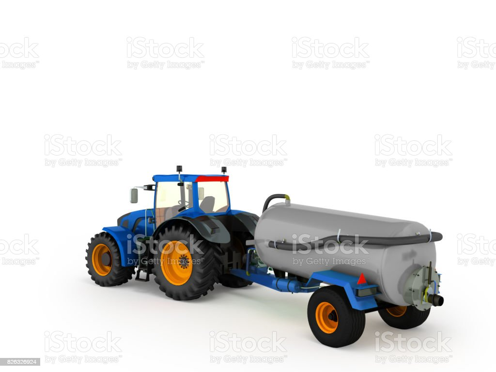 Tractor plowing red 3d render on white background stock photo